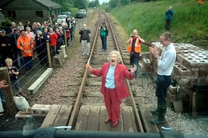 Madge Elliot declares the Border Union Railway officially open, with John Lamont MSP