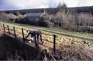 Founders Len Ashton & Matt Stoddon repaint bridge 199 in February 2002 - photo Andy Stoddon